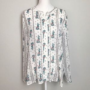 LULUS I.Madeline white floral long-sleeve top